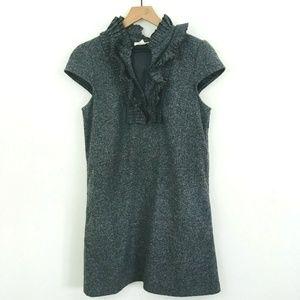 LOFT Gray Cap Sleeve Wool Ruffle Dress